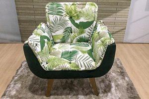 Poltrona Verde com Floral - Modelo Rebeca