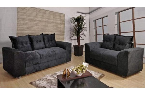 Sofá de 2 e 3 Preto Lugares 1,40cm de Largura Modelo Porto