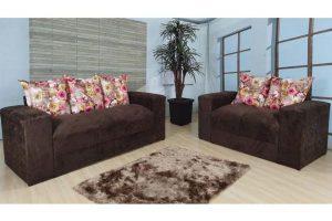 Sofá de 2 e 3 Lugares Marrom Com floral 1,80m de Largura Modelo