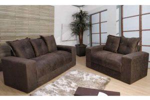 Sofá de 2 e 3 Lugares Marrom 1,80m de Largura Modelo Ravi