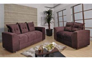 Sofá de 2 e 3 Vinho escuro Lugares 1,40cm de Largura Modelo Por