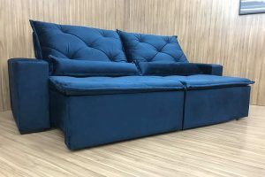 Sofá Retrátil Azul 1.80m Modelo Caioca Azul em Rio de Janeiro