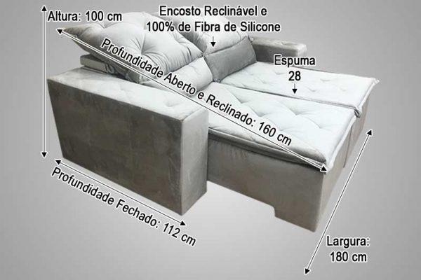 Sofá Retrátil Bege 1.80m de Largura – Modelo Carioca em Rio de Janeiro