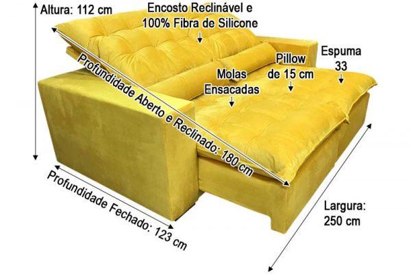 Sofá Retrátil Laura 2.50m Veludo Amarelo - Molas Ensacadas D33