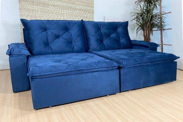 Sofá Retrátil Reclinável 2.00m - Modelo Búzios Azul