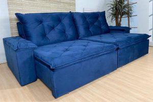 Sofá Retrátil Reclinável 2.10m - Modelo Ibiza Azul