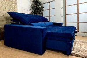 Sofá Retrátil Reclinável 2.10m - Modelo Israel Azul
