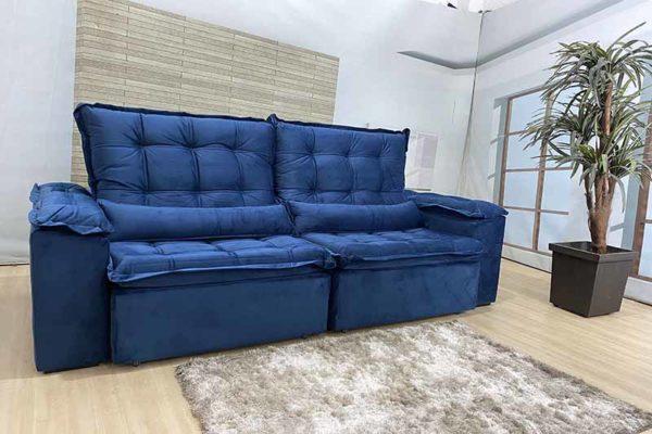 Sofá Retrátil Reclinável 2.10m - Modelo Munique Azul