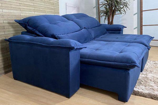 Sofá Retrátil Reclinável 2.30m - Modelo Vision Azul