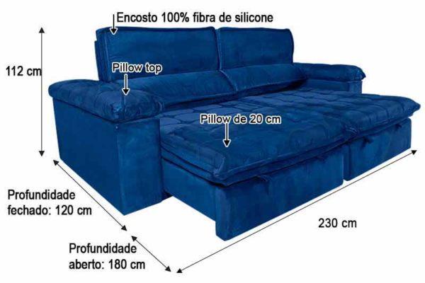 Sofá Retrátil Reclinável 2.30m - Modelo Cancún Azul