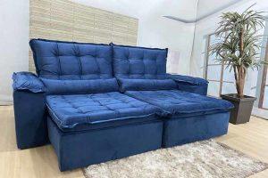 Sofá Retrátil Reclinável 2.30m - Modelo Florença Azul