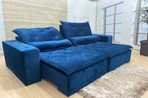 Sofá Retrátil Reclinável 2.30m - Modelo Ômega Azul