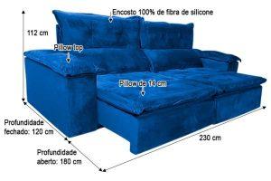 Sofá Retrátil Reclinável 2.30m - Modelo Holanda Azul