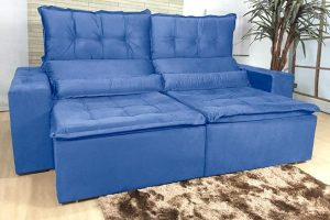 Sofá Retrátil Azul 2.30 m de Largura Modelo Imperio