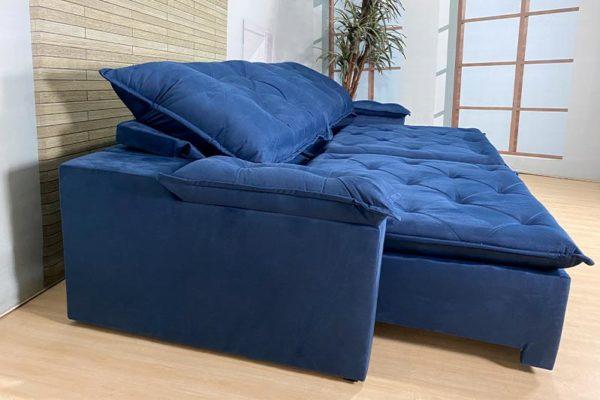 Sofá Retrátil Reclinável 2.30m - Modelo Loreto Azul