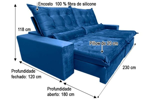 Sofá Retrátil Reclinável 2.30m - Modelo Nairóbi Azul