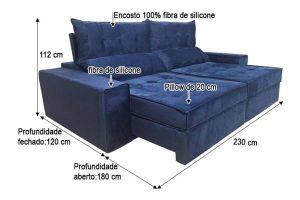 Sofá Retrátil Reclinável 2.30m - Modelo Turquia Azul