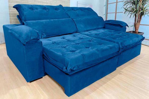 Sofá Retrátil Reclinável 2.30m - Modelo Canadá Azul