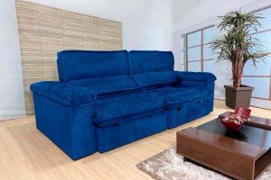 Sofá Retrátil Reclinável 2.50m - Modelo Florida Azul
