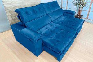Sofá Retrátil Reclinável 2.50m - Modelo Toronto Azul