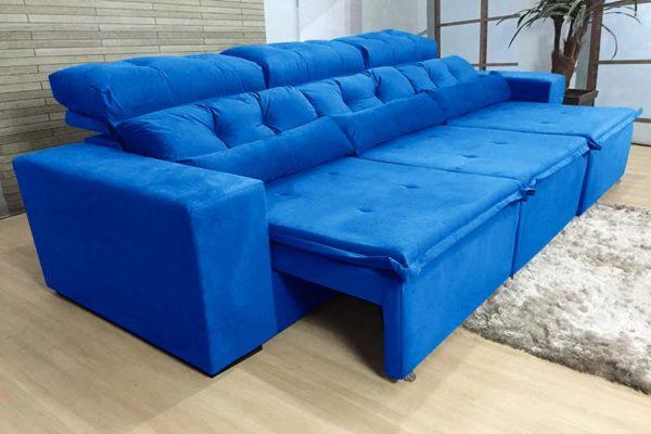 Sofá Retrátil Azul 2.70 m de Largura - Modelo Petros
