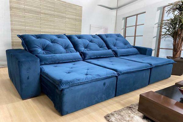 Sofá Retrátil Reclinável 2.90m - Modelo Delta Azul