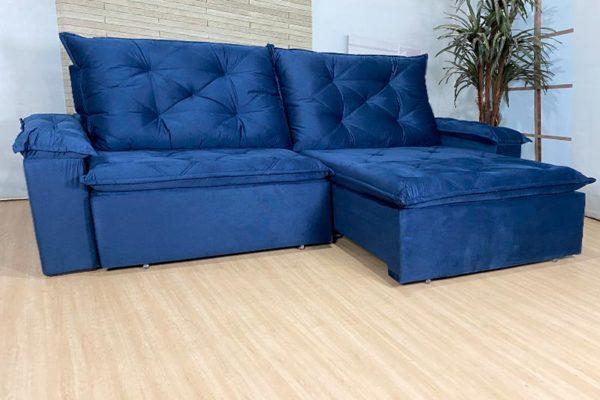 Sofá Retrátil Reclinável 2.90m - Modelo Líbano Azul