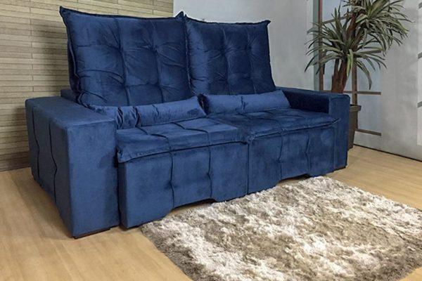 Sofá Retrátil Azul 2.10 m de Largura – Modelo Hungria