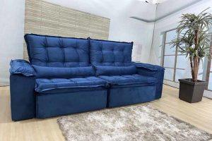 Sofá Retrátil Reclinável 2.50m - Modelo Rafaele Azul