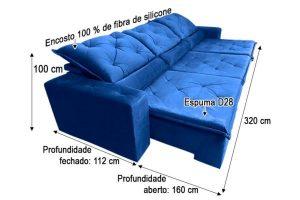 Assento fechado: 1.12 m Assento aberto: 1.60 m Largura: 3.20 m Altura: 1.00 m