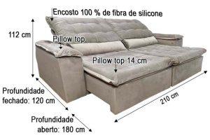 Sofá Retrátil Reclinável 2.10m - Modelo Munique Bege