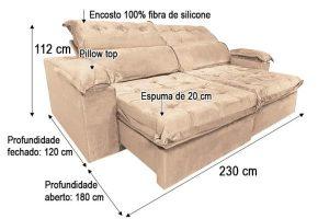 Sofá Retrátil Reclinável 2.30m - Modelo Canadá Bege