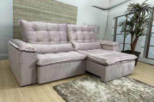 Sofá Retrátil Reclinável 2.30m - Modelo Florença Bege