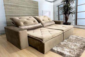 Sofá Retrátil Reclinável 2.30m - Modelo Ômega Bege