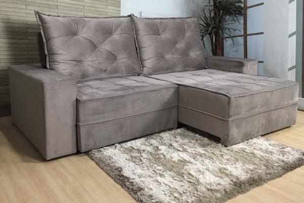 Sofá Retrátil Reclinável 2.50m - Modelo Bariloche Bege