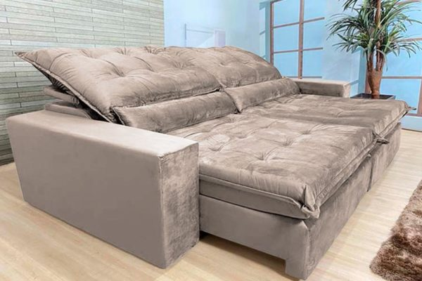 Sofá Retrátil Reclinável 2.50m - Modelo Cairo Bege