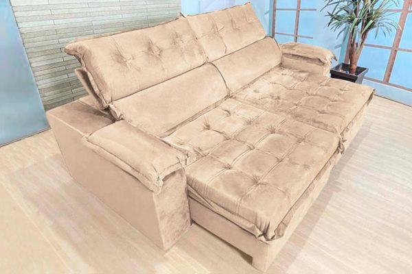 Sofá Retrátil Reclinável 2.50m - Modelo Toronto Bege