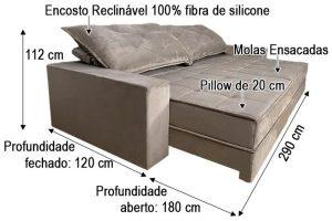 Sofá Retrátil Reclinável 2.90m - Modelo Apolo Bege