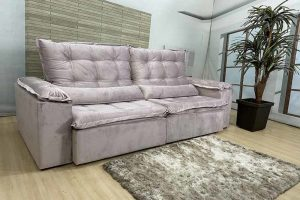 Sofá Retrátil Reclinável 2.50m - Modelo Rafaele Bege