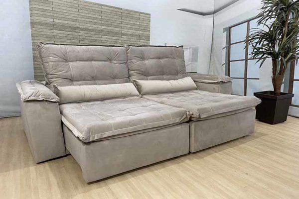 Sofá Retrátil Reclinável 2.90m - Modelo Fernanda Bege