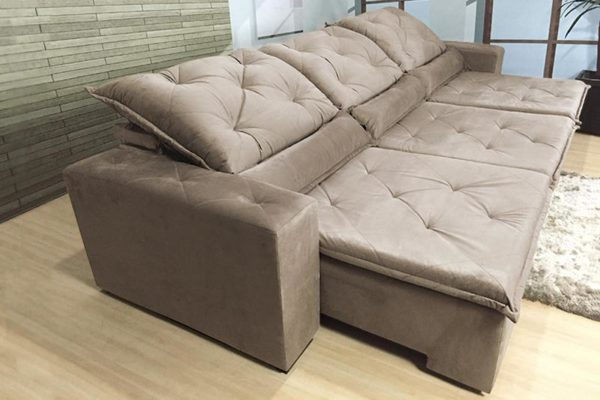 Sofá Retrátil Reclinável 3.20m - Modelo Eros Bege