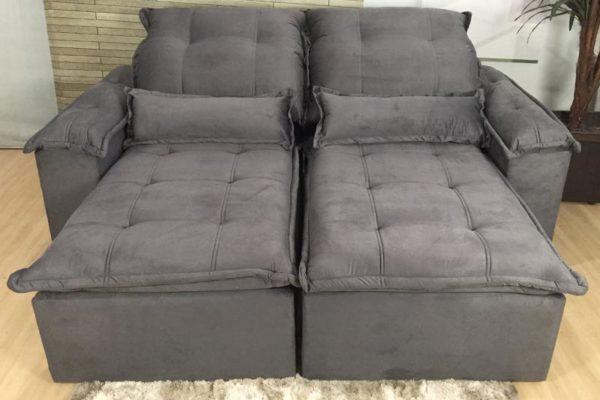 Sofá Retrátil Reclinável 2.10m - Modelo Foster Cinza