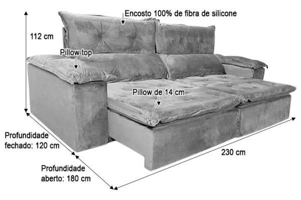 Sofá Retrátil Reclinável 2.30m - Modelo Holanda Cinza