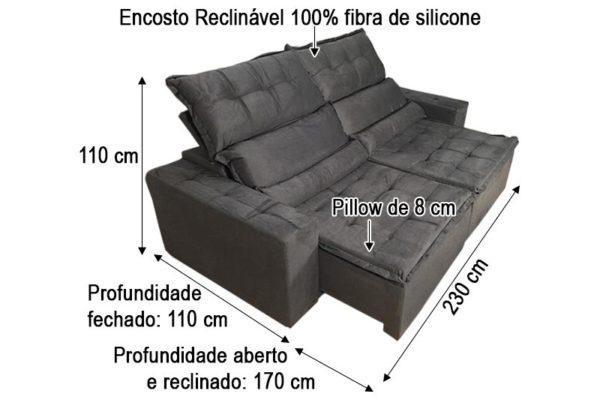 Sofá Retrátil Cinza 2.30 m de Largura Modelo Imperio