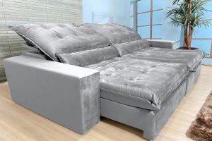 Sofá Retrátil Reclinável 2.30m - Modelo Nairóbi Cinza