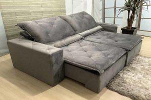 Sofá Retrátil Reclinável 2.30m - Modelo Ômega Cinza
