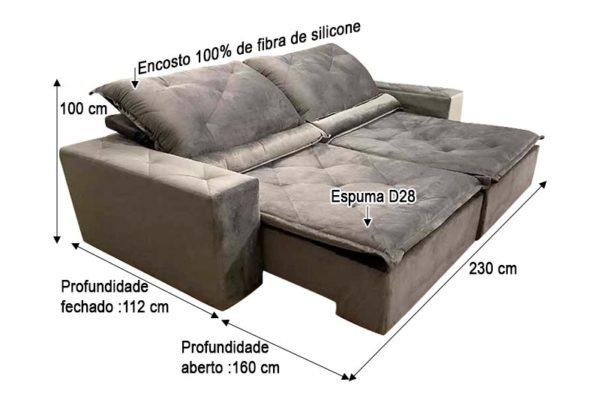 Sofá Retrátil Reclinável 2.30m - Modelo Ômega Marrom