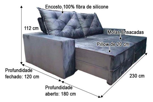 Sofá Retrátil Reclinável 2.30m - Modelo Star Cinza