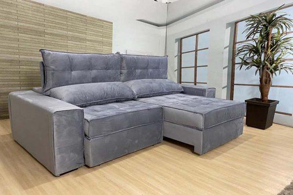 Sofá Retrátil Reclinável 2.30m - Modelo Turquia Cinza