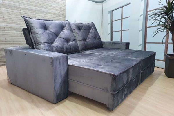 Sofá Retrátil Reclinável 2.50m - Modelo Bariloche Cinza